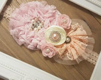 Baby Pink Peach Baby Girl Headband, Toddler Headband, Wedding Headband, Wedding Sash, Infant Headbands, Baby Girl Gift, Baby Shower Gift
