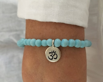 Yoga jewelry, om bracelet, beach jewelry