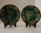 Antique English Majolica Plates, Set Of 2, Green Begonia Leaf Plates, Pottery Plates, Kitchen/Dresser/ Wall Display, Circa 1890's