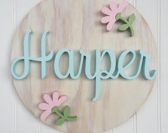 Wood Name Sign Baby Shower Gift Newborn Nursery Name Letters Wood Sign Personalized Boy Girl Babies Wall Letter Round Circle Decor Art Home