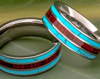 Titanium Turquoise and Koa Wood Ring 8mm Comfort Fit 3 Row Wedding Band
