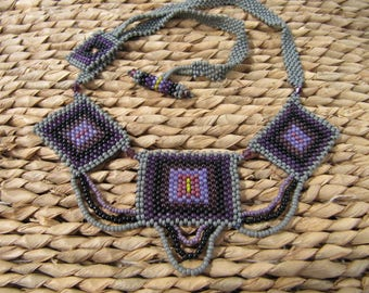 Purple and grey quilt inspired necklace