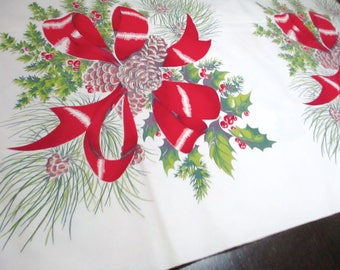 "Wilendur Christmas Bows and Boughs Tablecloth 1950s 100"" x 54"" Rectangle"