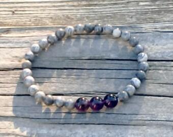 Natural Fancy Jasper and Amethyst Beaded Stretch Bracelet in multiple sizes