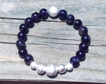 Natural Amethyst and Sterling Silver Stardust Beaded Stretch Bracelet in multiple sizes
