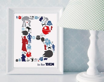 Custom Monogram Print: Star Wars; Star Wars Themed Nursery Art; Star Wars Monogram Print; Star Wars Boys Room Art