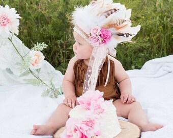Girls Indian Headdress - Feather Headdress - Wild One - Feather Crown - Girls Feather Headdress.