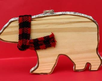 Polar bear Christmas tree ornament, bear and scarf, wooden polar bear, large ornament, woodland, natural, plaid scarf, wood slice, shape