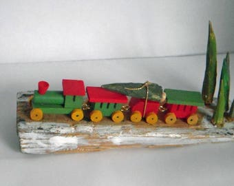 Little train Christmas decoration, bringing home the tree, tiny carved wood trees, door stop, found item, christmas tree farm, handmade