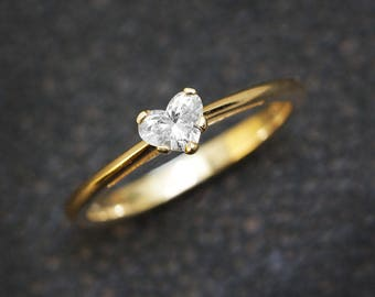 Heart Diamond Ring, Solitaire Ring, 14K Gold Ring, 0.30 CT Diamond Ring, Delicate Ring, Unique Engagement Ring, Heart Ring