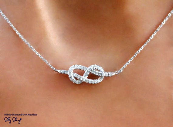 Infinity Necklace, Diamond Pendant Necklace, White Gold Necklace, Infinity Knot Necklace, Gold Pendant, Handmade Jewelry