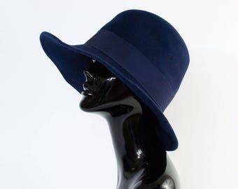 "Vintage Women's Navy Felted Wool Boho Wide Brim Hat Small 55cm 21.5"""