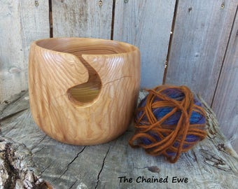 Wooden Yarn Bowl, Hand Made In Ash Wood