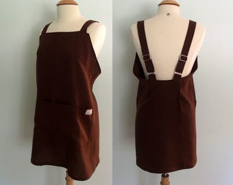 Japanese Apron, Brown Linen Apron, Pinafore Apron, Gift for Her, Wrap Apron, Artist Apron, Crossback Apron, Long Linen Apron, Pockets