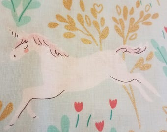 Unicorn Forest fabric in Aqua by Michael Milller