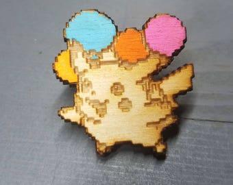 Flying Pikachu Balloon Pin | Laser Cut Jewelry | Wood Accessories