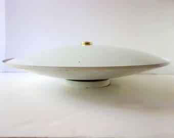 Vintage Glass Ceiling Light Fixture, Mid Century Moe Saucer Light, White Atomic Shade