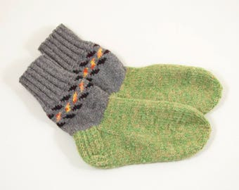 Hand Knitted Wool Socks - Gray, Green and Yellow, Size Medium