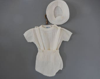 Vintage Baby Outfit - White Knit 3 piece Outfit - Knit Romper and Hat - Infant Shorts Shirt and Hat - Baby Boy 3 piece Outfit
