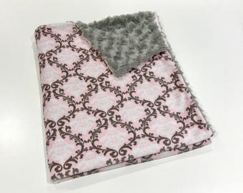 Floral Damask Baby Girl MINKY Baby Blanket, Girl Baby Blanket, Grey and Pink Floral Paisley Baby Blanket, Baby Shower Gift, Ready to Ship