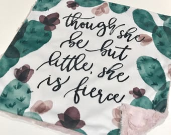 Though she is Little She is Fierce Baby Girl Blanket, Autumn Cactus Watercolour Minky Baby Blanket, Pink Baby Blanket, Baby Shower Gift