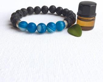 Lava Stone Bracelet • Aromatherapy • Striped Agate • Oil Diffuser Stone • Aromatherapy Bracelet • Essential Oil Bracelet • Healing Bracelet