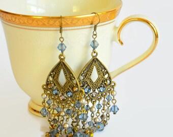 Blue grey bronze Swarovski crystal dangly earrings, Swarovski earrings, dangly earrings, crystal earrings, vintage style earrings