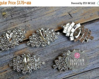 ON SALE Rhinestone Buttons Crystal Clear FLATBACK 35mm - Flower Centers - Wedding Bridal Prom Jewels Sparkle Vintage Inspired Wholesale
