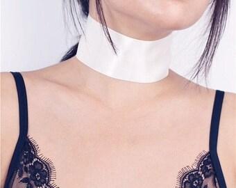 ON SALE Wide white silky ribbon chocker - sexy lace choker