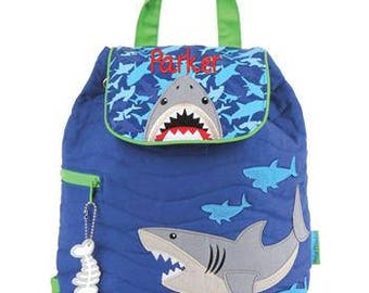 Personalized Stephen Joseph Quilted Shark Backpack, Diaper Bag, Toddler Backpack, Overnight Bag with FREE Embroidery