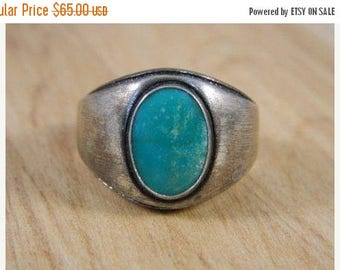 ETSYCIJ Mens Large Green Turquoise Ring / Vintage Sterling Silver Native American Old Pawn Ring / Indian Ring Size 10