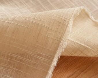 Slub Cotton Linen Fabric, Natural Fabric/ Light Brown Color, Transparent fabric , Cotton Linen Fabric 1/2 yard  (QT1266)