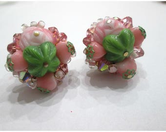 SALE, Vintage Earrings, Clip On, Pink And Green, So sweet !