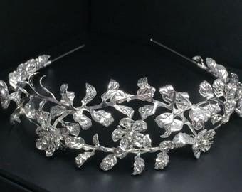 Custom Myrtle Tiara, Silver Plated Leaf Tiara, Antique German Tiara, Vintage Bridal Crown, Myrtle Crown, vintage tiara, flower crown GD1720