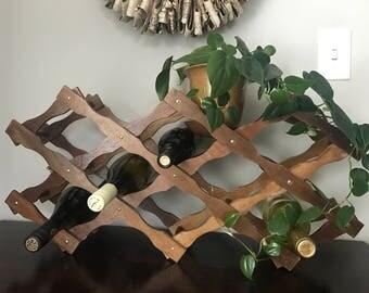 Vintage Folding Wooden Wine Rack