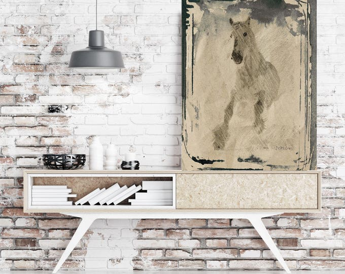 "White horse. Extra Large Horse, Horse Wall Decor, Gray Beige Rustic Horse, Large Contemporary Canvas Art Print up to 72"" by Irena Orlov"