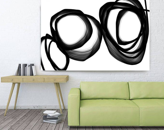 "Abstract Expressionism in Black And White 4. Contemporary Unique Wall Decor, Large Contemporary Canvas Art Print up to 72"" by Irena Orlov"