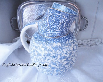 Antique 1882 Royal Doulton wash basin jug, blue white transferware water jug, French country decor, cottage decor, good condition