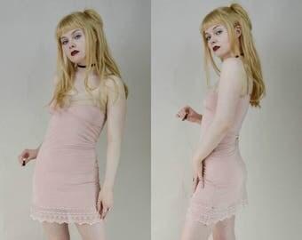 90s Soft Grunge Pink Babydoll Lingerie Slip Dress XS