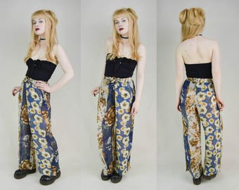 90s Grunge Sheer Floaty Floral Print High Waist Baggy Trousers Pants S