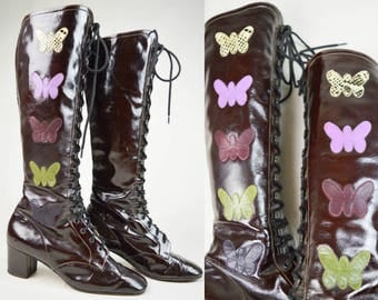 60s Brown Patent Leather Butterfly Applique Lace Up Knee High Go Go Mod Boots UK 3 / US 5.5 / EU 36