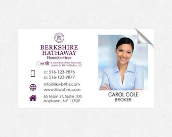 BHHS real estate deluxe glossy stickers - business card size - high end - crack and peel - FREE UPS ground shipping
