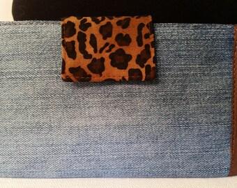 Denim Jean with Leapard Print Bi Fold has Silk and Cotton Lining