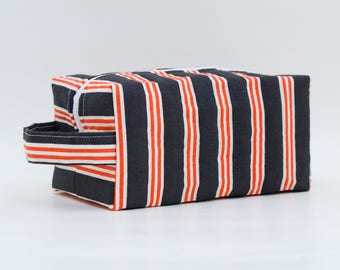 Orange & White Stripes Quilted Cosmetic Bag with Handle, Boxy Pouch; Dark Gray; Boxy Bag; Make-Up Bag; Travel Bag; First Aid Kit; Shave Bag