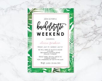 Printable Tropical Theme Bachelorette Weekend Invitation