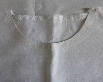 Rustic Antique French Pure Linen Nightgown,Nightdress, Chemise,  Vintage,