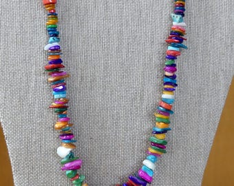 20 Inch Organic Summer Colorful Mother of Pearl and Turquoise Necklace with Earrings