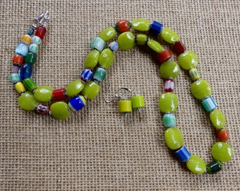 28 Inch Boho Ethnic Yellow Green or Lime Italian Glass Beaded Necklace with Earrings