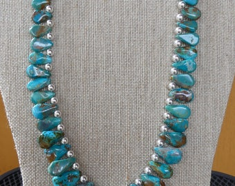 20 Inch Blue and Green Genuine Natural Turquoise Teardrop Necklace with Earrings