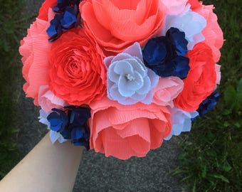 Paper flower bouquet - Crepe paper wedding flowers, coral and navy wedding, bridal flowers, wedding bouquet, nosegay, anniversary gift